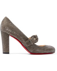 Christian Louboutin - Fyalta 85 Glittered Canvas Mary Jane Court Shoes - Lyst