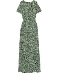 MICHAEL Michael Kors - Cold-shoulder Printed Satin-jersey Maxi Dress - Lyst