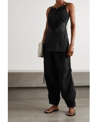 Loewe Crocheted Lace-trimmed Cotton And Silk-blend Voile Camisole - Black