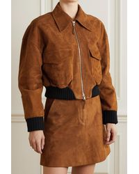 Khaite Larissa Cropped Stretch Wool-trimmed Suede Bomber Jacket - Brown