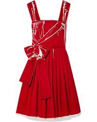 Prada - Printed Pleated Cotton-poplin Dress - Lyst