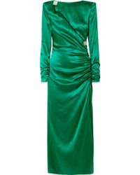 Alessandra Rich - Ruched Crystal-embellished Silk-satin Midi Dress - Lyst