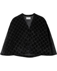 Gucci Cape En Velours Jacquard - Noir
