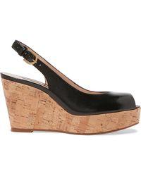 Stuart Weitzman - Jean Glossed Textured-leather Slingback Wedge Sandals - Lyst