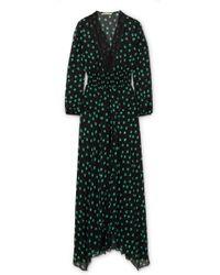 Maje   Asymmetric Lace-trimmed Printed Chiffon Dress   Lyst