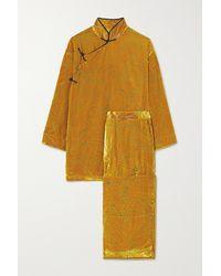 Olivia Von Halle Harlow Pyjama Aus Devoré-samt - Mettallic