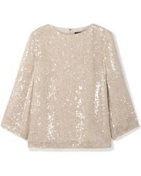 Sally Lapointe - 3/4-sleeve Sequined Crewneck Top - Lyst