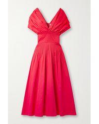 Jason Wu Off-the-shoulder Pintucked Cotton-poplin Midi Dress - Red