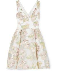 Marchesa notte Floral Skater Dress - White