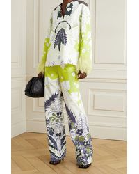 Valentino Feather-trimmed Printed Cotton-poplin Blouse - Multicolor