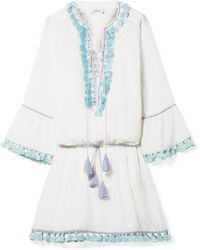 Talitha - Ria Tasseled Embroidered Cotton And Silk-blend Mini Dress - Lyst
