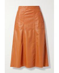 Johanna Ortiz Travelling West Leather Midi Skirt - Brown