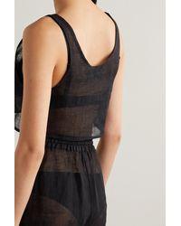 Le Kasha + Net Sustain Elmin Cropped Organic Linen-gauze Top - Black