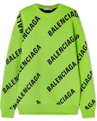 Balenciaga Oversized Intarsia Cotton-blend Sweater - Green