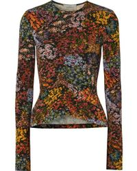 Preen By Thornton Bregazzi - Norah Ruched Floral-print Stretch-crepe Top - Lyst
