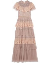 Needle & Thread - Cinderella Tiered Embellished Tulle And Lace Gown - Lyst