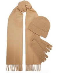 Johnstons - Cashmere Scarf, Beanie And Gloves Set - Lyst