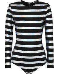 Balmain - Striped Iridescent Cotton-jersey Bodysuit - Lyst