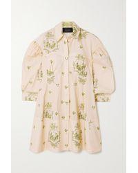 Simone Rocha Cotton-jacquard Shirt Dress - Natural
