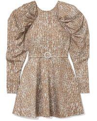 ROTATE BIRGER CHRISTENSEN Belted Gathered Animal-print Matte-satin Mini Dress - Multicolor