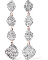 Monica Vinader - Nura Rose Gold Vermeil Diamond Earrings Rose Gold One Size - Lyst