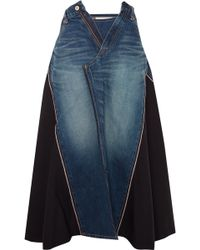 Junya Watanabe - Panelled Denim And Wool-twill Midi Skirt - Lyst