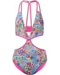 Matthew Williamson - Deia Fiesta Cutout Printed Swimsuit - Lyst