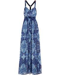 Matthew Williamson - Inca Jewel Embellished Printed Silk-chiffon Gown - Lyst