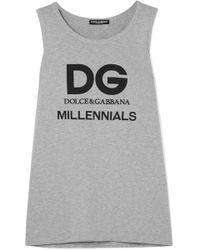 Dolce & Gabbana - Printed Cotton-jersey Tank - Lyst