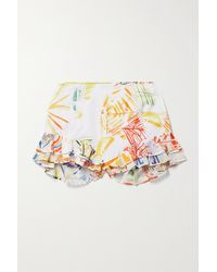 Charo Ruiz Amelie Ruffled Embroidered Printed Cotton-blend Voile Shorts - White