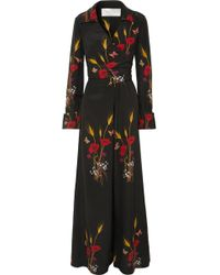 Valentino - Wrap-effect Printed Silk-georgette Jumpsuit - Lyst