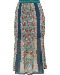 Anna Sui - Flower Child Printed Plissé Silk-chiffon Skirt - Lyst