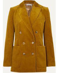 Bella Freud Bianca Double-breasted Cotton-corduroy Blazer - Yellow
