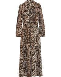 Ganni - Dufort Leopard-print Silk-blend Satin Maxi Dress - Lyst
