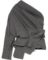Awake | One-shoulder Gathered Wool-blend Top | Lyst