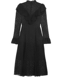 Temperley London - Prairie Ruffled Chiffon-trimmed Guipure Lace Midi Dress - Lyst