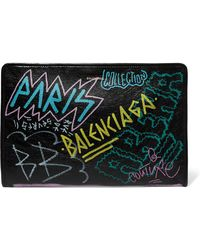 Balenciaga - Bazar Graffiti Printed Textured-leather Pouch - Lyst