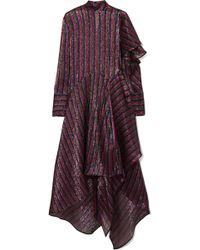 Petar Petrov - Asymmetric Striped Metallic Silk-blend Dress - Lyst