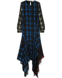 Preen Line - Coco Asymmetric Fringed Checked Crepe De Chine Dress - Lyst
