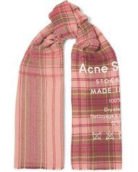 Acne Studios - Cassiar Printed Checked Wool Scarf - Lyst