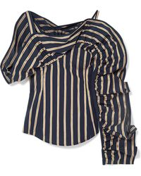Silvia Tcherassi - Michelina Cold-shoulder Ruffled Striped Cotton-poplin Blouse - Lyst