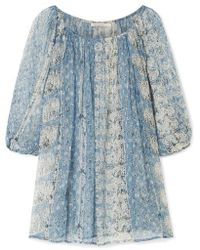 c1a62c103cd250 J.Crew Lentil Printed Silk-satin Twill Blouse in Blue - Lyst