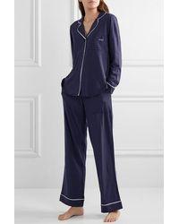 DKNY Signature Gestreifter Pyjama Aus Jersey Aus Einer Baumwollmischung - Blau