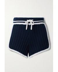 Rag & Bone Serena Shorts Aus Rippstrick Mit Streifen - Blau