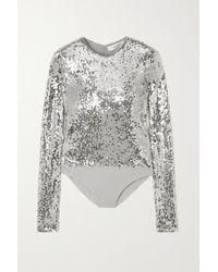Valentino Sequined Jersey Bodysuit - Metallic