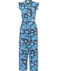 Paloma Blue Combi-pantalon En Crêpe De Chine De Soie À Imprimé Fleuri Jagger - Bleu