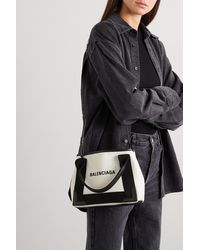 Balenciaga Navy Xs Cabas Leather-trimmed Printed Canvas Tote - Multicolour