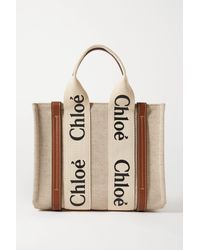 Chloé Woody Small Leather-trimmed Cotton-canvas Tote - Natural