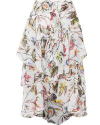 Jason Wu - Ruffled Printed Silk-crepon Midi Skirt - Lyst