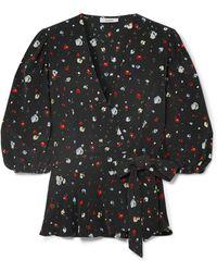 Ganni - Nolana Floral-print Silk Wrap Top - Lyst